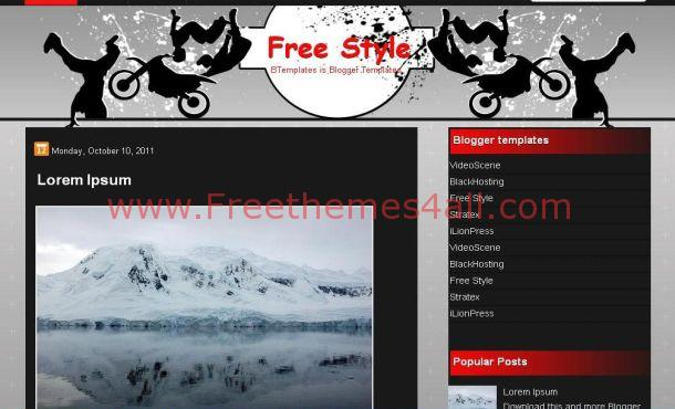 Free Cross Dreestyle Black Red Blogger Template