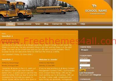 Free Joomla Orange School Web2.0 Theme Template
