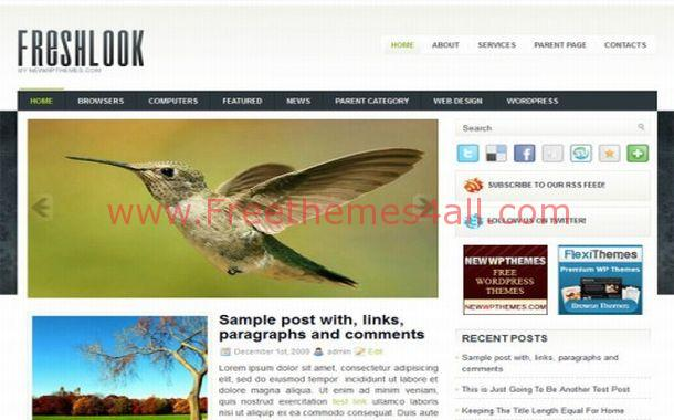 Free Green Blue Jquery WordPress Theme Template