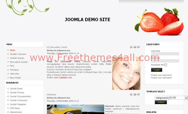 Free Fruits Recipes Joomla 1.5 Template