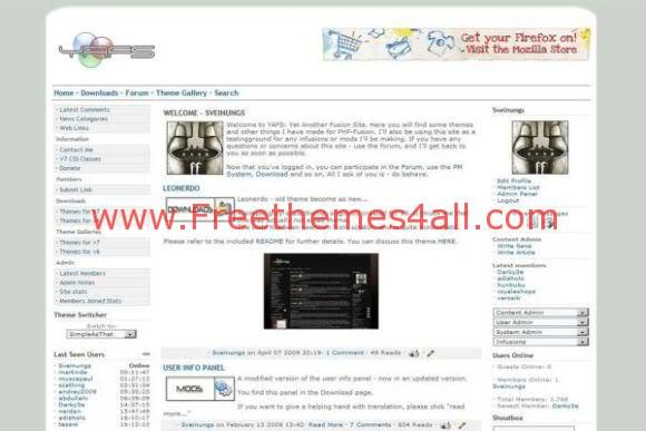 Free php-fusion Simple Arts White Web2.0 Theme Template