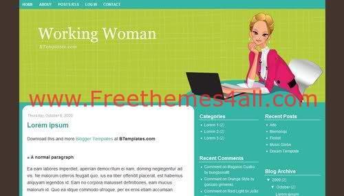 Free Blogger Woman Green Desk Web2.0 Template