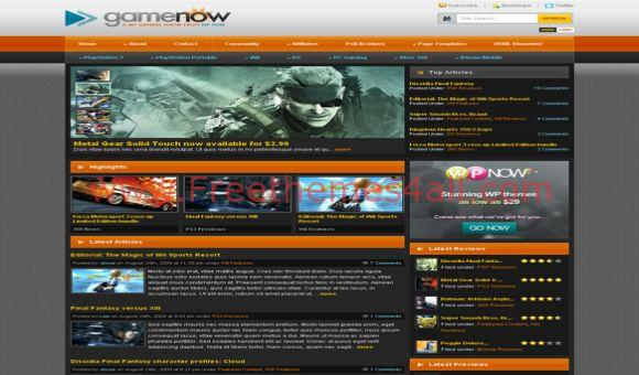 Free WordPress Game Now Black Orange Theme
