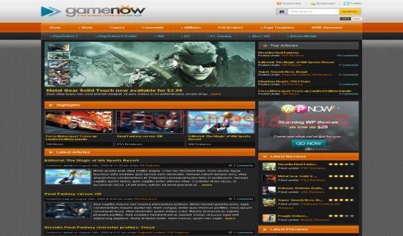 Free WordPress Game Now Black Orange Theme
