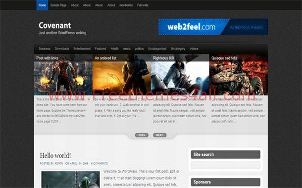 Grunge Jquery Games Black WordPress Theme