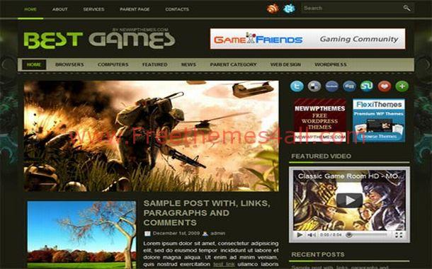 Free Vector Black Games Jquery WordPress Theme