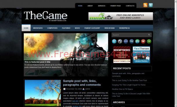Free Black Grunge Games WordPress Theme