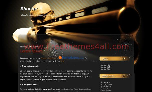 Free Shooter Black Brown Blogger Template