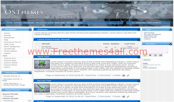 Free Blue Games Phpfusion Theme Template