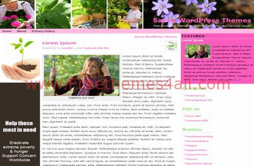 Free Garden Flowers Pink WordPress Theme