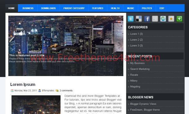 Free Dark Black Blue Gray Blogger Template