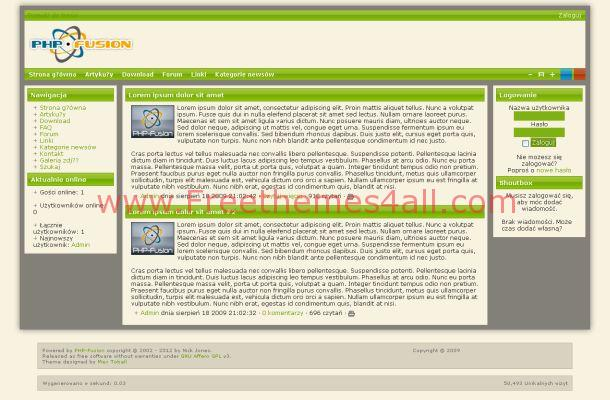 Free Phpfusion Red Blue Green Theme Template