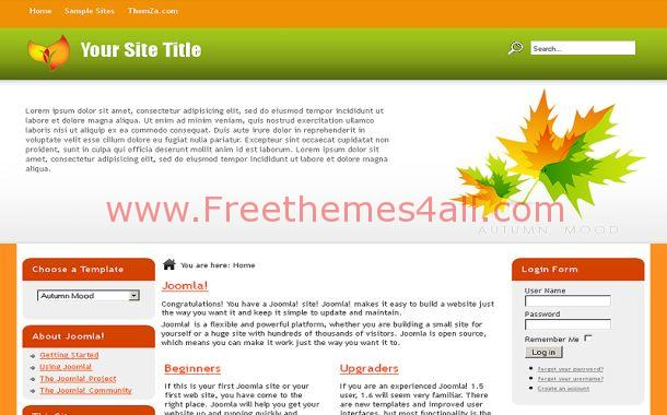 Free Joomla Yellow Orange Nature Theme Template