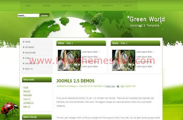 Sexy Green Nature Free Joomla Theme Template