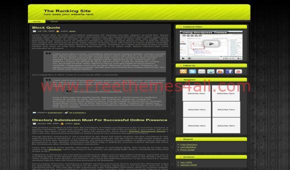 Free Green Wood Green Black WordPress Theme