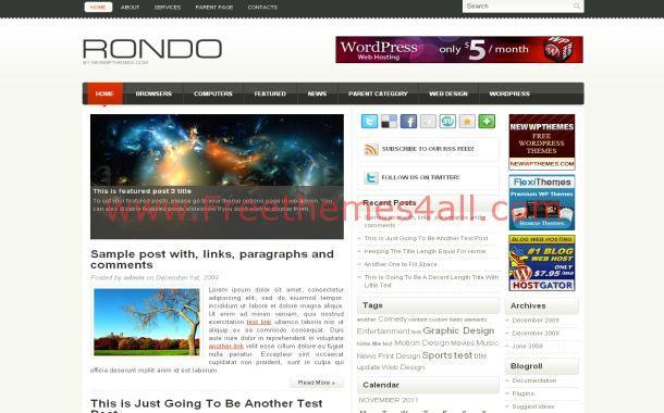 Simple Grey White Free WordPress Theme Template