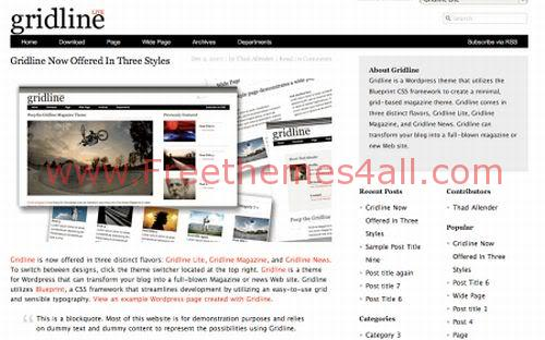 Free WordPress Gridline News Web2.0 Theme