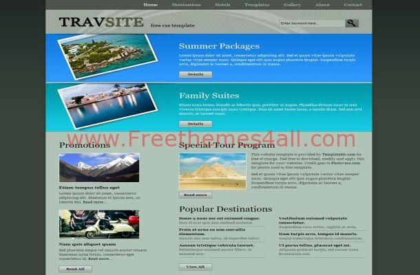 Free CSS Grey Blue Travel HTML Website Template