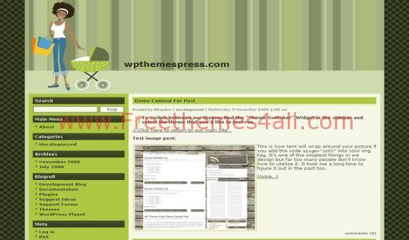 Free WordPress Kids Green Portal Theme Template