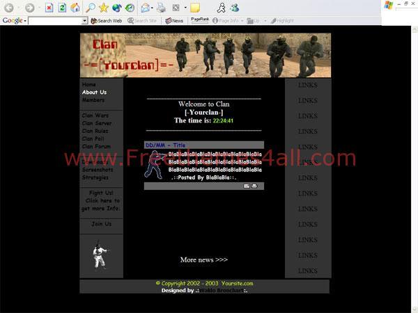 Free HTML Counter Strike Clan Black Template