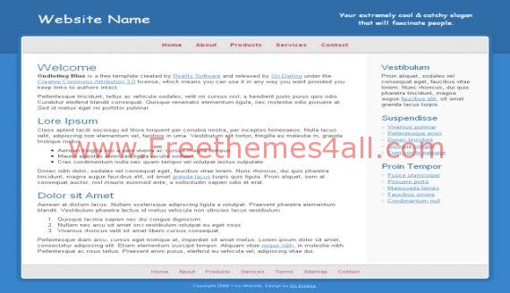 Free CSS Blue Side White HTML Website Template