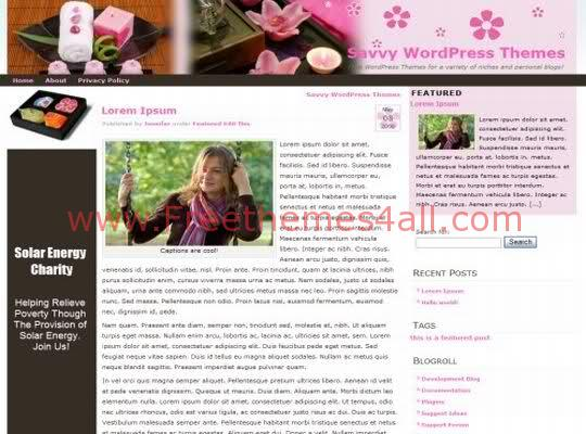 Free WordPress Cafe Candle Pink Theme Template