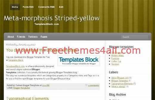 Free Blogger Yellow Green Striped Template