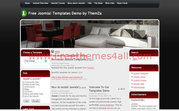 Red Black Free Joomla 1.5 Template
