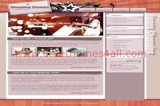 Free WordPress Shopping Ladies Pink Web2.0 Theme Template