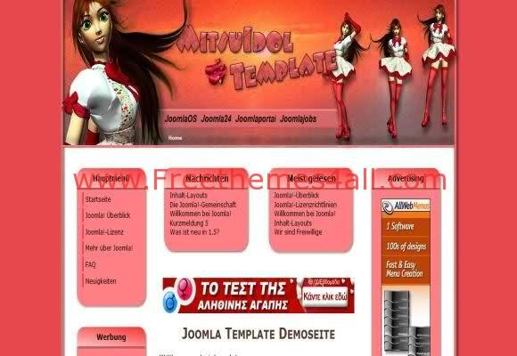 Free Joomla Pink Anime Mitsu Web2.0 Template