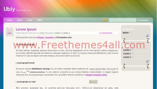 Free Blogger Violet Art Web2.0 Template