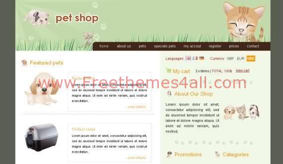 Free CSS Online Pets Shop Web2.0 Template
