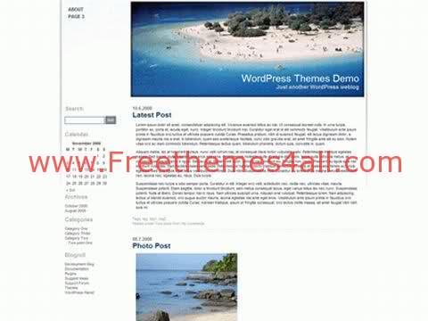 Free WordPress White Beach Sea Theme