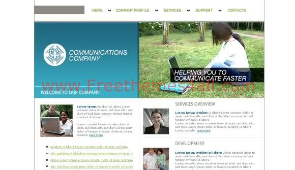 Free HTML Blue Communication Company Template