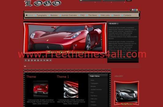 Free Joomla Cars Gallery Dark Red Template