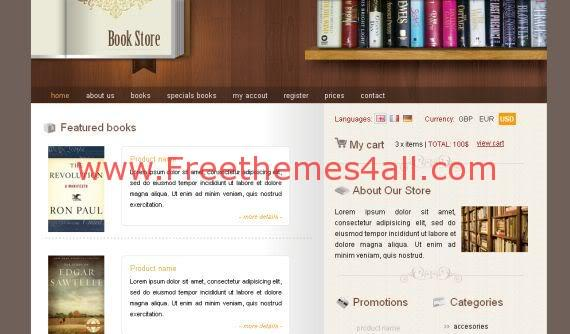 Free CSS Books Store Brown Website Template