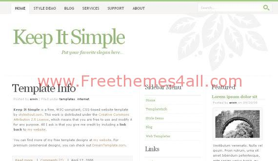 Free Keep It Simple Green White Website Template