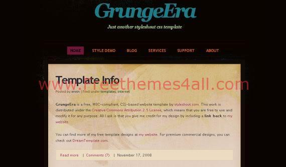 Free Grunge Era Pink Design CSS HTML Template