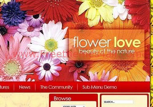 Free Joomla Flowers Shop Web2.0 Theme Template