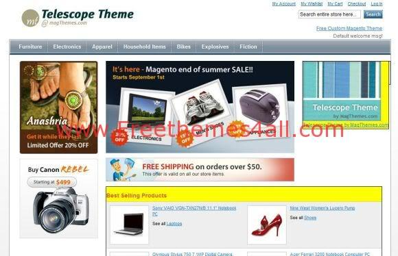 Free magento shopping website template freethemes4all for Magento homepage template