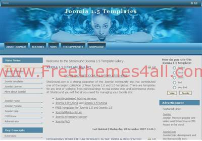 Free Joomla Movies Blue Clouds Web2.0 Template