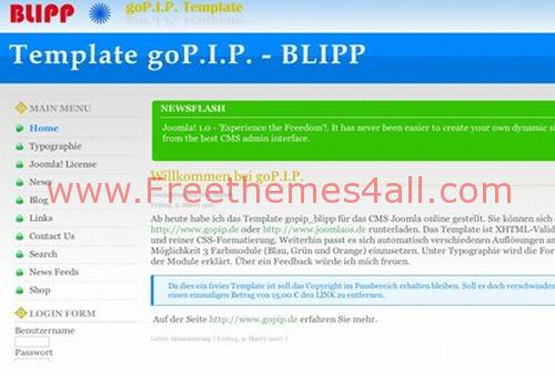 Free Joomla Blipp Green Bleu Web2.0 Theme Template