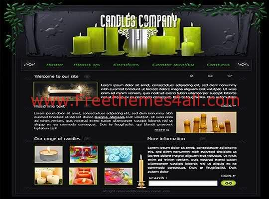 Free Candles Company Shop Web Template