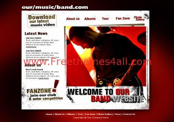 HTML DJ Music Red Free Web Template