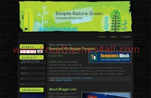 Free Blogger Template - Simple Nature Greem