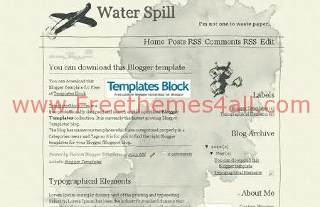 Free Water Spill Grunge Blogger Template