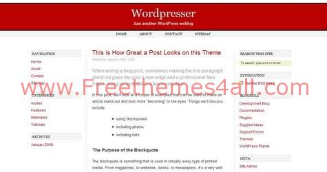 Free WordPress Minima Red Web2.0 Theme Template