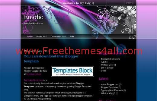 Free Blogger Emotic Violet Template