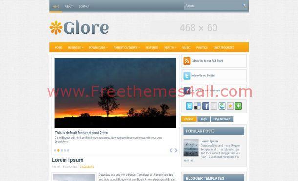 Free Jquery Light Grey Orange Blogger Template
