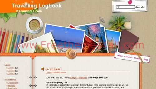 Free Blogger Travel Trips Journal Web2.0 Template